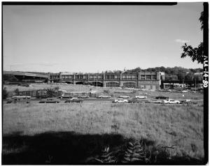 On the left side of this view looking east toward Forest Hills Station is the Monsignor William J. Casey Overpass, which carries the Arborway from the area of the Arnold Arboretum in Jamaica Plain toward Forest Hills Cemetery, Franklin Park, and the Dorchester section of Boston. (Courtesy of the Historic American Engineering Record; photograph by Richard Cheek.)